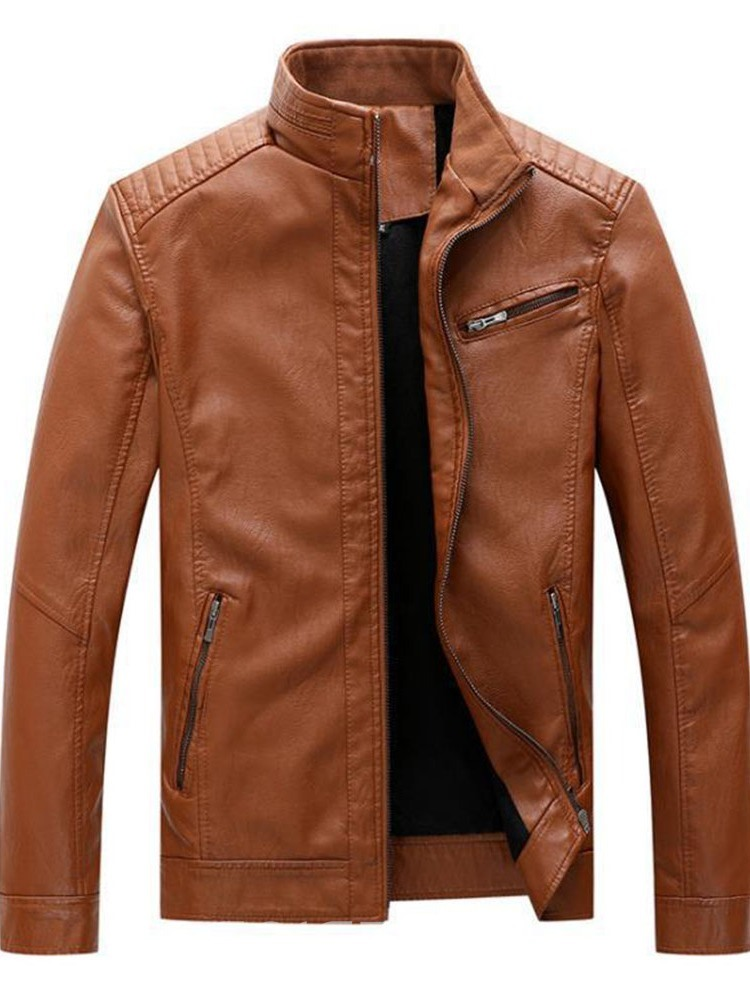 Ericdress Standard Stand Collar Plain Straight Fall Leather Jacket