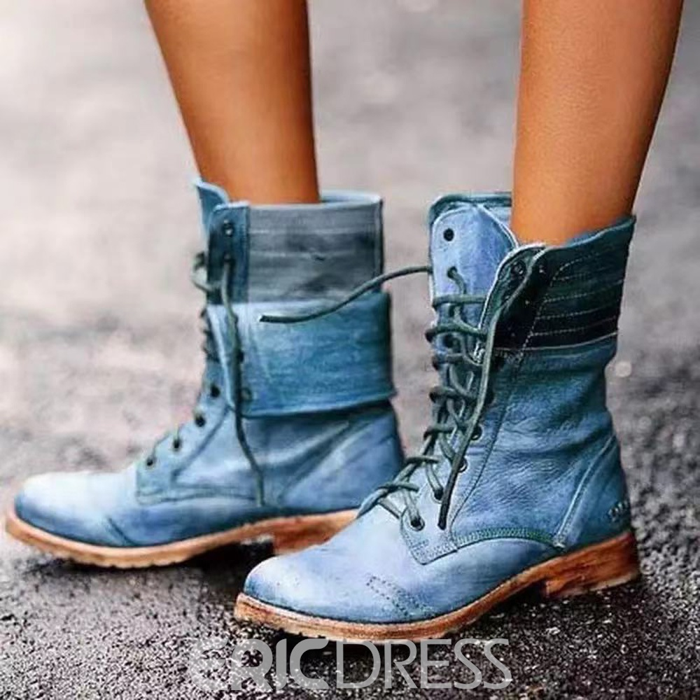 Ericdress Vintage Round Toe Lace-Up Front Block Heel Lace-Up Boots