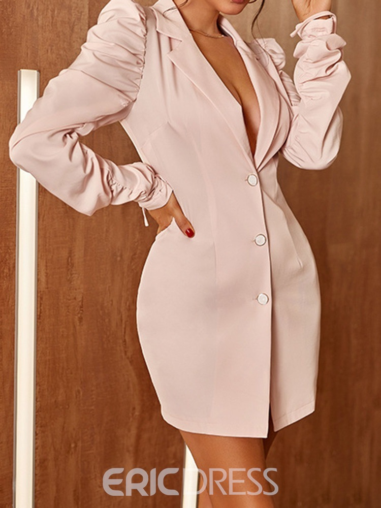 Ericdress Notched Lapel Above Knee Pleated Single-Breasted Fashion Dress