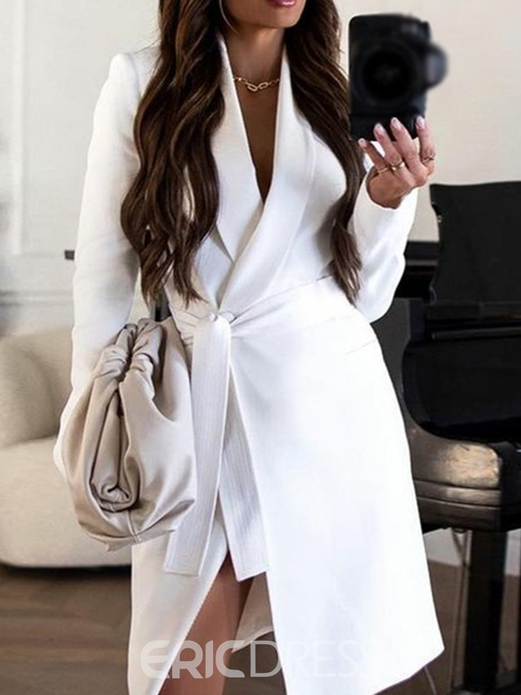 Ericdress Knee-Length Long Sleeve Lace-Up Lace-Up A-Line Dress