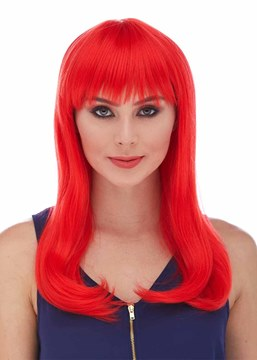 Ericdress Halloween Custome Cosplay Wigs Long Red Bob Bangs Straight Synthetic Hair Capless Wigs 18Inch