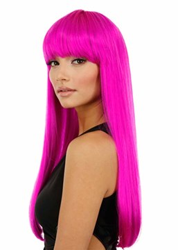 Ericdress Halloween Cosplay Wigs Women's Pink Long Bob Straight Synthetic Hair Capless Wigs 22Inch
