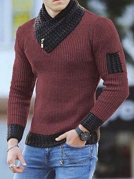 Ericdress Patchwork Standard Color Block Slim Casual Fall Sweater