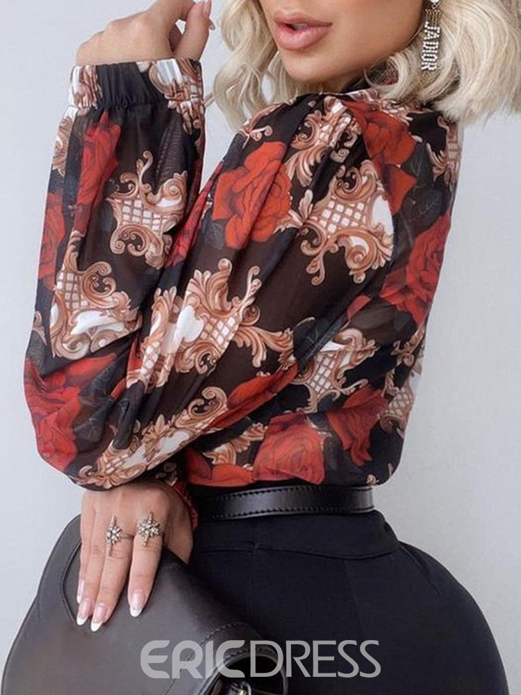 Ericdress Stand Collar Floral Print Long Sleeve Fall Blouse