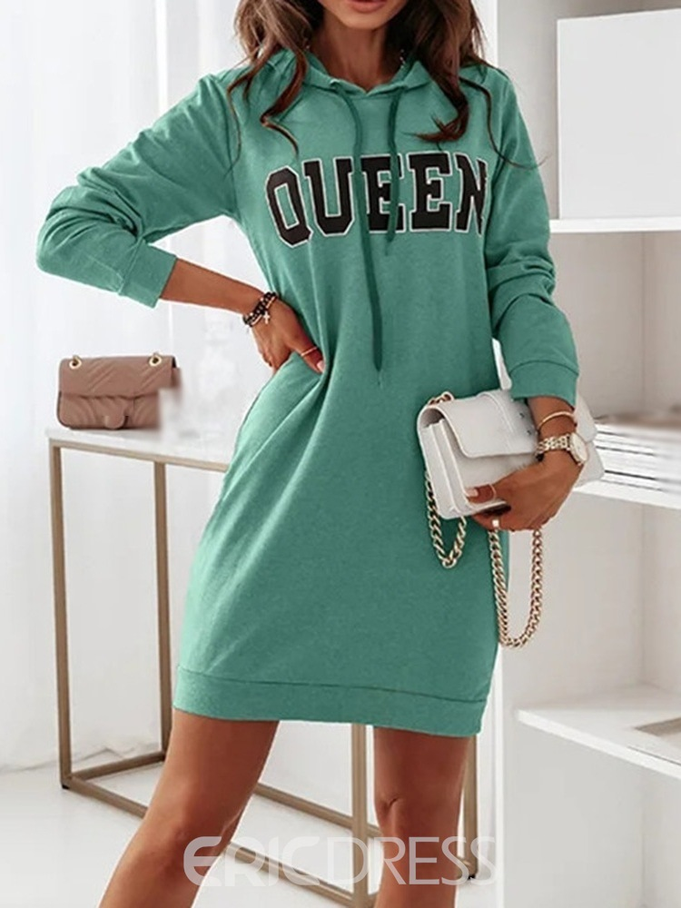 Ericdress Above Knee Hooded Long Sleeve Letter Bodycon Dress