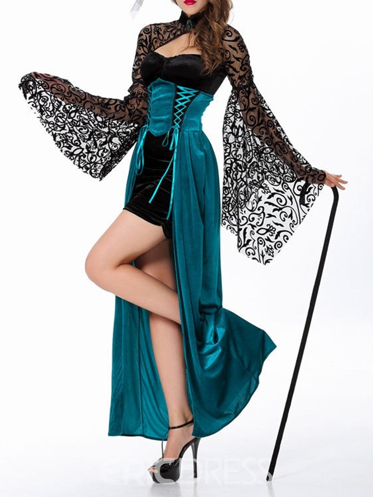 Ericdress Color Block Lace Long Sleeve Spring Classic Halloween Costumes