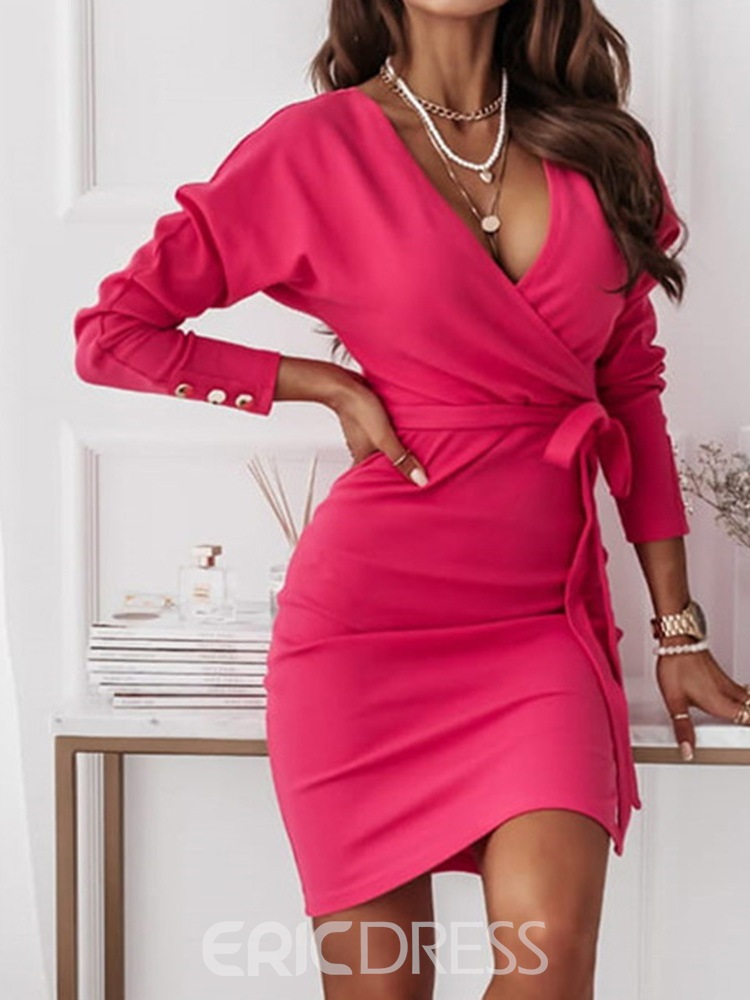 Ericdress Lace-Up Above Knee Nine Points Sleeve Bodycon High Waist Dress