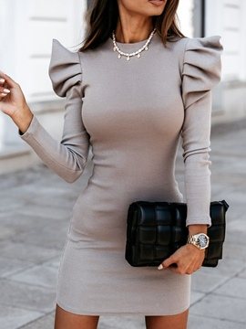 Ericdress Above Knee Pleated Stand Collar Office Lady Pullover Dress