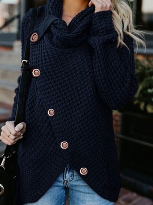 Ericdress Single-Breasted Button Mid-Length Winter Sweater