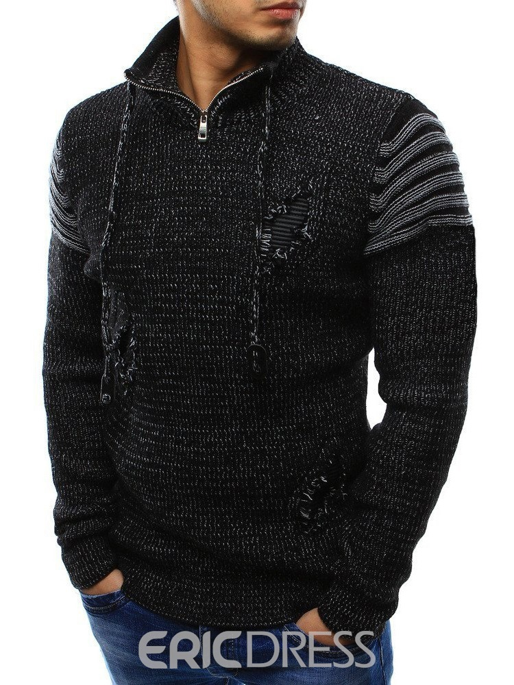 Ericdress Hole Stand Collar Standard Slim Casual Sweater