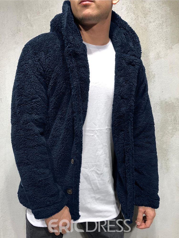 Ericdress Hooded Thick Plain Single-Breasted Winter Jacket
