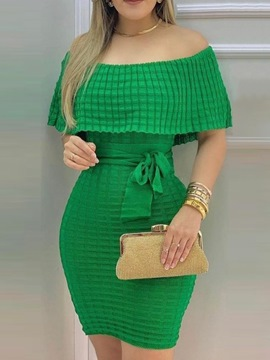 Ericdress Above Knee Lace-Up Short Sleeve Plain Pullover Dress
