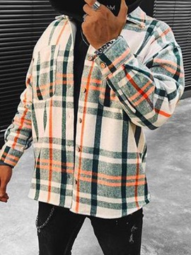 Ericdress Lapel Pocket Plaid Single-Breasted Casual Jacket
