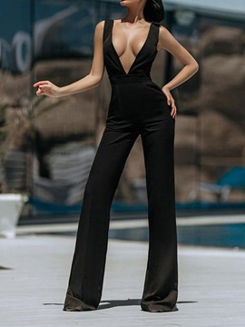 Ericdress Fashion Backless Full Length Straight Slim Jumpsuit