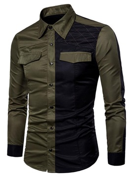 Ericdress Casual Color Block Patchwork Slim Single-Breasted Shirt