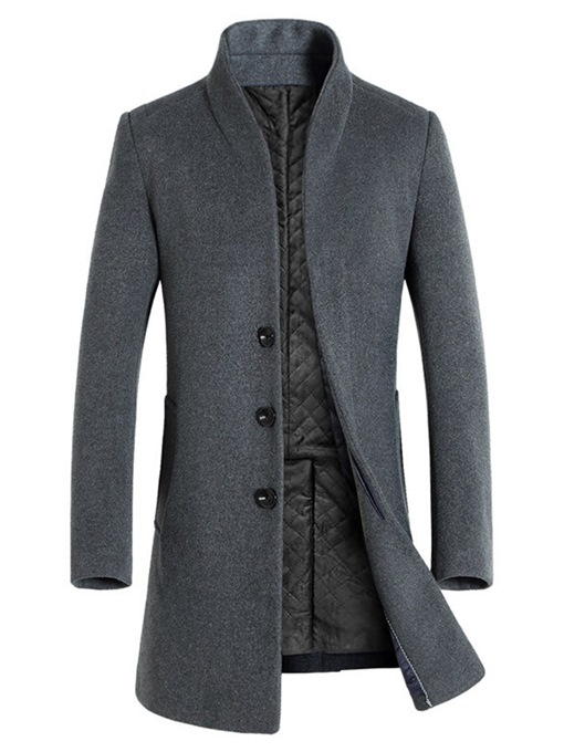 Ericdress Stand Collar Mid-Length Plain Single-Breasted European Coat