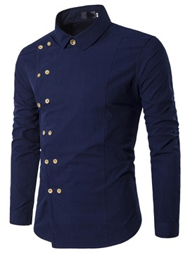 Ericdress Button European Lapel Double-Breasted Slim Shirt