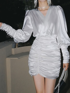 Ericdress V-Neck Pleated Above Knee Pullover Fashion Dress