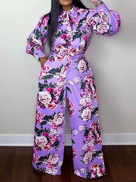 Ericdress Lace-Up Fashion Floral Single-Breasted Straight Two Piece Sets