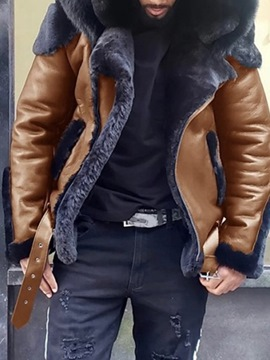 Ericdress Standard Hooded Winter Patchwork Leather Jacket