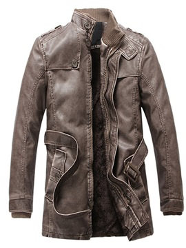 Ericdress Standard Stand Collar Winter Casual Leather Jacket