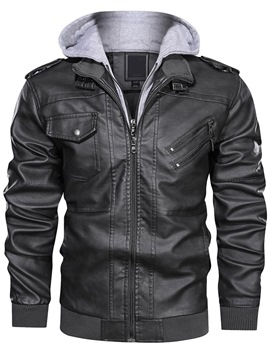 Ericdress Double-Layer Standard Patchwork Slim Leather Jacket