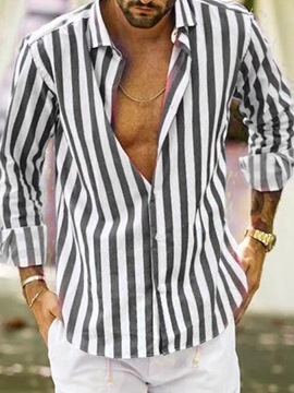 Ericdress Stripe Lapel Casual Straight Single-Breasted Shirt
