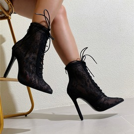Ericdress Plain Pointed Toe Lace-Up Front Sexy Boots