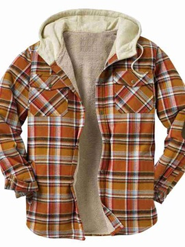 Ericdress Thick Hooded Plaid European Loose Jacket