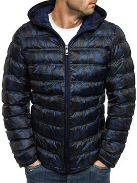 Ericdress Camouflage Hooded Print Casual Zipper Down Jacket