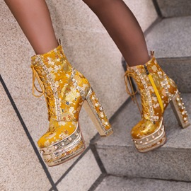 Ericdress Square Toe Floral Lace-Up Front Banquet Boots
