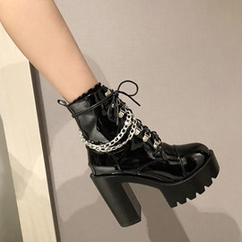 Ericdress Plain Lace-Up Front Chunky Heel Sequin Boots
