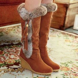 Ericdress Round Toe Patchwork Slip-On Casual Boots