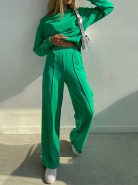 Ericdress Plain Pants Fashion Round Neck Pullover Two Piece Sets