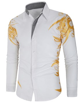 Ericdress Print Lapel Floral Single-Breasted Spring Shirt