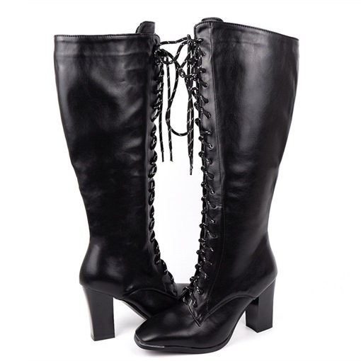 Ericdress Lace-Up Front Chunky Heel Plain Lace-Up Boots
