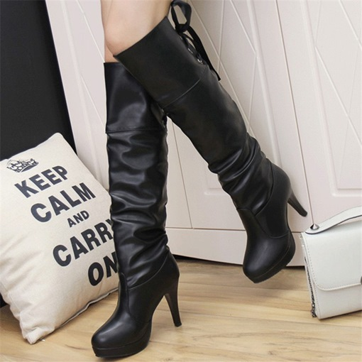 Ericdress Round Toe Plain Lace-Up Back Western Boots
