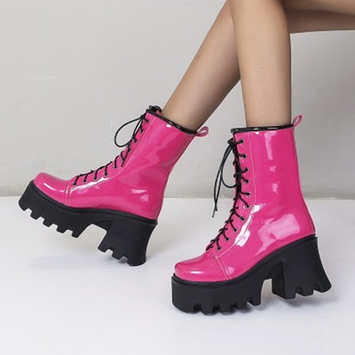 Ericdress Square Toe Plain Lace-Up Front PU Boots