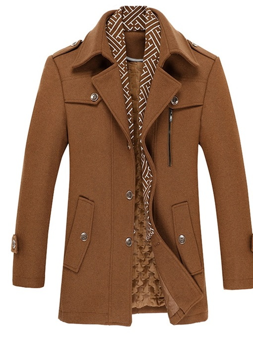 Ericdress Double-Layer Standard Plain Single-Breasted Slim Coat