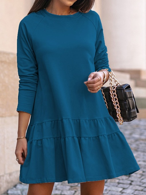 Ericdress Above Knee Nine Points Sleeve Round Neck A-Line Pullover Dress