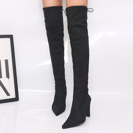 Ericdress Lace-Up Back Chunky Heel Pointed Toe Thread Boots