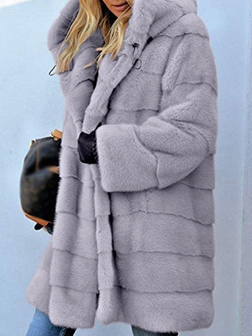 Ericdress Hooded Mid-Length Regular Thick Loose Faux Fur Overcoat
