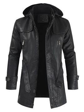 Ericdress Mid-Length Double-Layer Plain Zipper Fall Leather Jacket