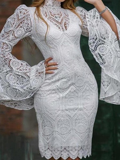 Ericdress Embroidery Long Sleeve Above Knee Sweet Bodycon Dress
