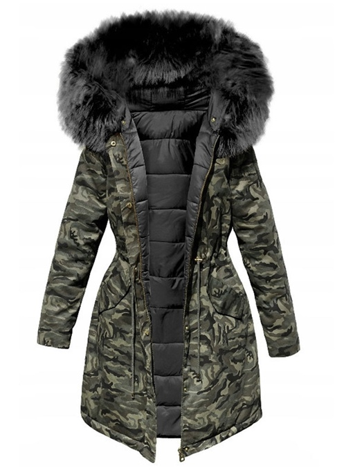 Ericdress Single-Breasted Button Slim Mid-Length Cotton Padded Jacket