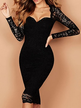 Ericdress Lace V-Neck Long Sleeve Bodycon Pullover Dress