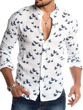 Ericdress Print Stand Collar Spring Single-Breasted Shirt