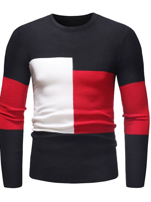 Ericdress Round Neck Patchwork Color Block Casual Slim Sweater