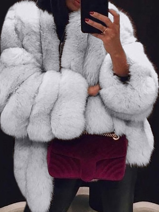 Ericdress Plain Mid-Length Fall Wrapped Faux Fur Overcoat