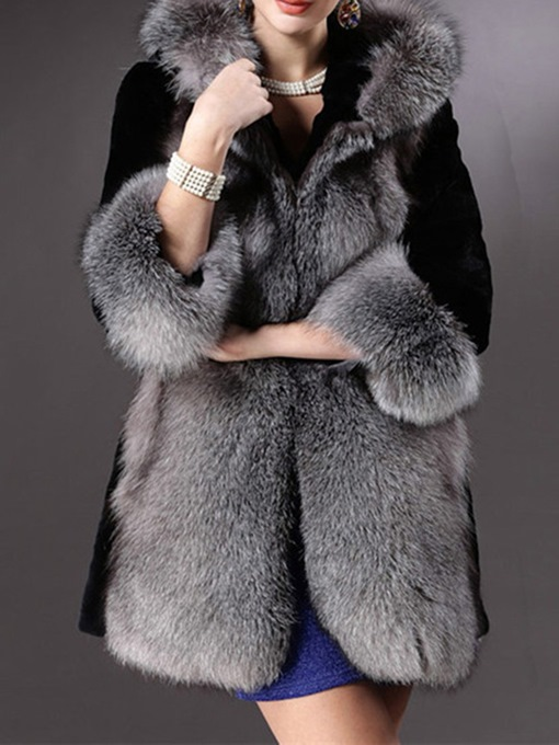 Ericdress Mid-Length Color Block Hooded Wrapped Fall Faux Fur Overcoat